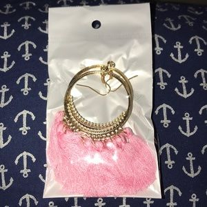 Gorgeous Pink Tassel Fringe Hoop Drop Earrings NEW